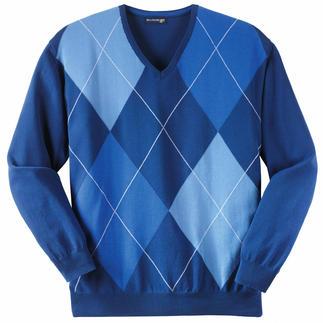 Der Intarsienpullover mit drei unterschiedlichen Blau-Tönen ist besonders vielseitig zu kombinieren. Intarsienstrick. Reine Baumwolle. Italienische Fertigung.