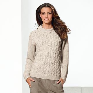 Der original irische Zopf-Pullover kommt nie aus der Mode. Und ist doch schwer zu finden. Die authentischen, tatsächlich in Irland gefertigten Klassiker sind selten. Dank Kaschmir weich und warm.