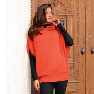 Oversize-Kapuzen-Pullunder Geniale Kreuzung aus Pullunder, Pullover und Poncho. Und Aufsehen erregendes Highlight vieler Outfits.