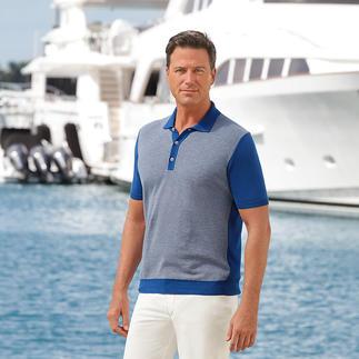 Das gestrickte Polo-Shirt. Aus feinster ägyptischer Baumwolle. Zweifarbiger Piqué gefertigt vom Strick-Spezialisten Ferrante in Italien.