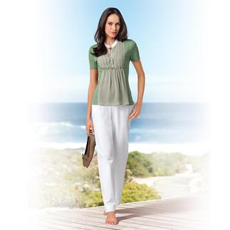 Das Blusen-Shirt aus Baumwoll-Jersey mit Seiden-Chiffon. Bequem wie ein T-Shirt. Elegant wie eine Bluse. Von Gran Sasso, Italien.