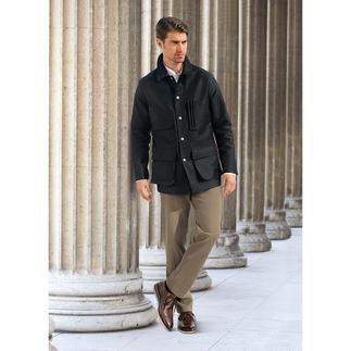 Die Jacke aus echtem Armentière-Moleskin. Verarbeitung von Patric Hollington/Paris. Unverwüstlicher Stoff, unzerstörbares Design.