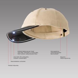 Die original 2C® Solar Light Cap aus Neuseeland: Sonnenschutz bei Tag, Licht bei Dunkelheit. Ohne Batterie. Ohne Strom. Und beide Hände frei. Ideal für Wander- und Campingtouren.