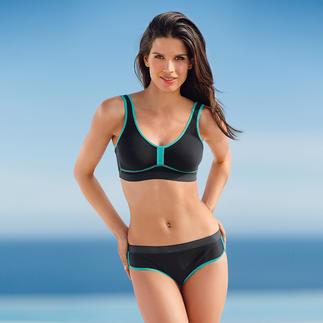 Endlich ein Bikini mit dem zuverlässigen Halt eines Sport-BHs. Hochelastisch. Schnelltrocknend. Atmungsaktiv. Ideal für Wassergymnastik und Beach-Volleyball, beim Surfen, Yoga und Pilates. Aus Xtra Life Lycra®.