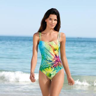 Dieser Badeanzug wirkt wie eine gute Sonnencreme. Aus SunSelect® – mit außergewöhnlichem Blumen-Motiv. Der spezielle SunSelect®-Jersey lässt die zur sanften Bräunung notwendigen UV-Strahlen durch.