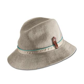 Der Schönwetter-Hut vom britischen Traditions-Hersteller Kangol®, seit 1938. Gestrickt statt gewebt: Luftiger. Sommerlicher. Und außergewöhnlich edel.