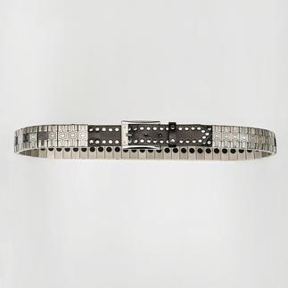 Der Metall-Flex-Gürtel von Nanni: Massive Optik. Flexibler Tragekomfort. Ein Aufsehen erregendes Schmuckstück.