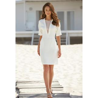 Das selten elegante, selten vielseitige weiße Sommerkleid. Perfektes Material. Cleaner Schnitt. Variabler Gürtel.