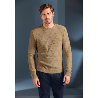 Der kernige, aber dennoch sommerleichte Struktur-Pullover. Aus Baumwolle, Modal und Kaschmir made in Germany. Exklusiv bei Fashion Classics.