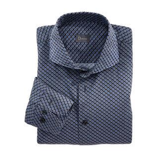 Das Hemd im selten dezenten Retro-Druck: Ton in Ton und klein gemustert. Stilvoll genug sogar zum Business-Anzug.