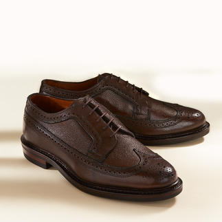 Die perfekte Kombination: Schuhe und Gürtel aus seltenem Scotchgrain-Leder. Von Allen Edmonds/USA.