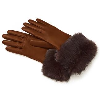 Der dreifach luxuriöse Lederhandschuh. Anschmiegsames Haarschaf-Leder. Echtes Kaninchenfell. Flaumweiches Kaschmir-Futter.