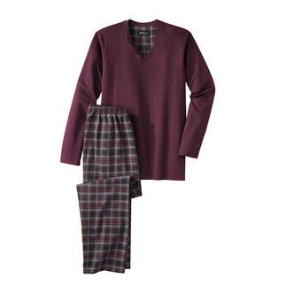 Der perfekte Gentleman-Pyjama: Bequem. Luftig. Edel. Kuscheliges Jersey-Oberteil + leichte Twill-Hose. Von Novila.