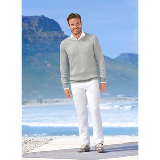 Der strukturstarke Patentstrick-Pullover – selten leicht und luftig. Wiegt nur 340 g. Aus weicher Viskose-Baumwoll-Mischung. Von Carbery.