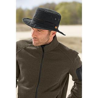 Der wetterfeste Hut aus reiner Baumwolle. Durch Mikro-Spezialwachse wasser- und windabweisend, dennoch atmungsaktiv.