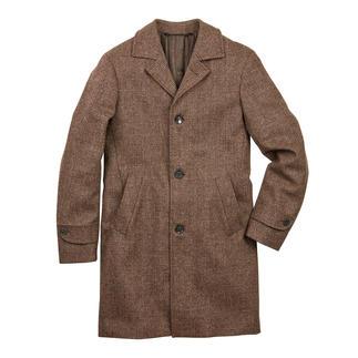 Der Glencheck-Mantel aus ungefärbter Jacobschaf-Wolle: Trendpiece mit Seltenheitswert. Gewebt von Marling & Evans, feine britische Tuche seit 1782.