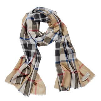Der Schottenkaro-Schal mit registriertem Tartan-Muster. Original Thompson-Camel-Modern-Dessin. Reine Wolle. Made in Scotland von Lochcarron.