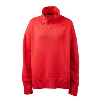 Der bezahlbare Kaschmir-Sweater von ZOE ONA - Liebling der Fashion-Crowd. Angesagt oversized und mit trendgerechtem Turtleneck. In Rot und Natur.