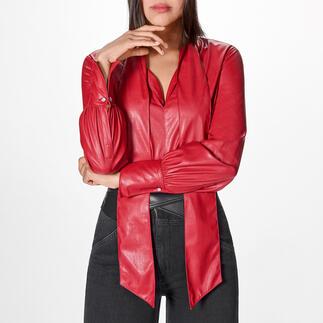 Pinko Lederlook-Blusenbody Lederblusen-Trend in seiner femininsten Form: der rote Blusen-Body aus supersoftem Fake-Leder. Von Pinko.