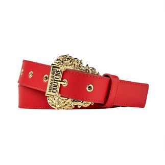 Der schmale Gürtel mit prachtvoller Barock-Schließe im Western-Look. Gerade Top-Trend, bei Versace schon immer unverkennbares Signature-Piece.