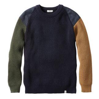Der Army-Pullover auf dem neuesten Stand. Made in England von Peregrine, seit 1796. Weiche, warme Merinowolle. Modisches Colourblocking. Erfreulicher Preis.