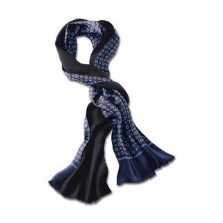 Der Retro-Schal in klassischem Design - aber mit neuer Colorierung. Eine Seite Seide, eine Seite Wolle – ideal bei jeder Witterung.
