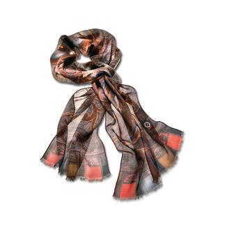 Der schöne, vielseitige Schal in 8 aktuellen Herbstfarben. Merinowolle mit Seide – wärmend, hauchzart und 47 Gramm leicht.