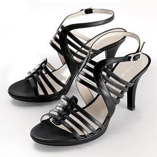 Die elegante Sandalette, die unerwartet komfortabel ist. Ein Schaumstoffkern form Ihr individuelles Fußbett. Von Lorbac, Italien.