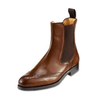 Der Chelsea-Boot: Beste italienische Machart. Handgefertigt in der toskanischen Manufaktur Fratelli Borgioli. Außergewöhnlich schmal und feminin. Mit Bienenwaben-Gummizügen - findet man nur bei hochwertigen Schuhen.
