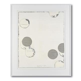 Jupp Linssen – Ballpoint Erste Unikatserie von Jupp Linssen: Farbkreise aus Öl auf Büttenpapier – von Künstlerhand gemalt. 20 Multiples. Maße: gerahmt 93 x 112 cm