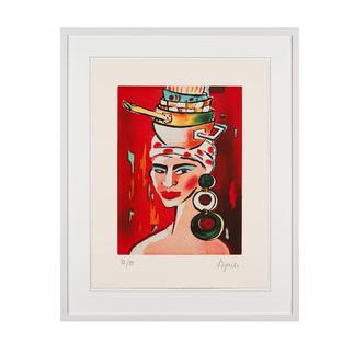 Elvira Bach – Kopftuch 2010 Unverkennbar Elvira Bach: Eines ihrer weltberühmten Frauenportraits als Radierung. Die letzten 20 Exemplare der 99er-Edition. Maße: gerahmt 63 x 78 cm