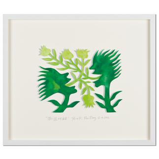 Ren Rong – Blumensprache, Papierschnitt Das berühmteste Motiv eines der renommiertesten chinesischen Künstler: Ren Rongs Pflanzenmensch als unikale 3D-Konstruktion. 20 Exemplare. Maße: gerahmt 57 x 49 cm