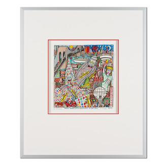 James Rizzi – New York City – Highway to the Sky 2006 Rarität – eine der letzten handsignierten 3D-Papierskulpturen des verstorbenen James Rizzi. 33 von 350 Exemplaren – exklusiv bei Pro-Idee. Maße: gerahmt 51,5 x 61,5 cm