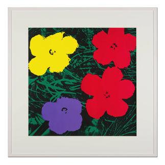Andy Warhol – Flowers grün Sunday B. Morning Siebdruck auf 1,52 mm starkem Museumskarton. Maße: gerahmt 112 x 112 cm