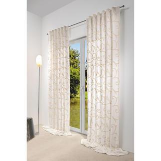 """Vorhang """"Impression"""", 1 Vorhang Dreidimensionale Ornamente aus plastischer Dochtstickerei veredeln diesen Vorhang."""