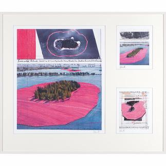 """Christo und Jeanne-Claude – Surrounded Islands – three selected works 3 Zeichnungen des Projektes """"Surrounded Islands"""" in hochwertiger 3-in-1-Rahmung. Mit Signatur des Künstlers Christo. Maße: gerahmt 120 x 103 cm"""