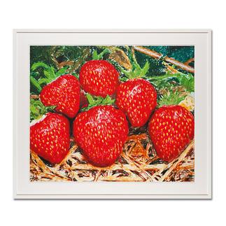 """Thomas Baumgärtel – o. T. Erdbeeren Die berühmteste Banane der Kunstwelt: Baumgärtels Erdbeeren bestehen aus hunderten Bananen. Edition """"o. T. Erdbeeren"""" – exklusiv für Pro-Idee. Handübersprüht. 20 Exemplare. Maße: 85 x 70 cm"""