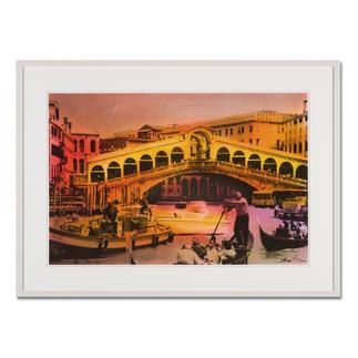 Helle Jetzig – Rialtobrücke P1 Helle Jetzigs Venedig: Einzigartige Technik aus Malerei, Siebdruck und Schwarz-Weiß-Fotografie. Erste Papier-Edition, die nachträglich mit einem Siebdruck versehen wurde. 40 Exemplare. Maße: 80 x 53 cm