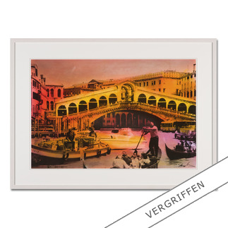 Helle Jetzig – Rialtobrücke P1 Helle Jetzigs Venedig: Einzigartige Technik aus Malerei, Siebdruck und Schwarz-Weiß-Fotografie. Erste Papier-Edition, die nachträglich mit einem Siebdruck versehen wurde. 40 Exemplare.