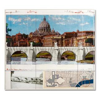 """Christo – Ponte St. Angelo, Wrapped – Project for Rome, 1969-2011 Ein echtes Sammlerstück: Christos handübermalte und mit Stoff collagierte Collage. Geschützt hinter Acrylglas. Die letzten 8 Exemplare von """"Ponte St'Angelo"""". Maße: gerahmt 72,5 x 64,2 cm"""
