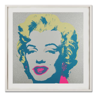"""Andy Warhol – Marilyn Diamond Dust Andy Warhols Marilyn Monroe – mit glitzerndem """"Diamond Dust"""" veredelt. Siebdrucke aus der bedeutenden Sunday B. Morning Edition. Maße: gerahmt 112 x 112 cm"""