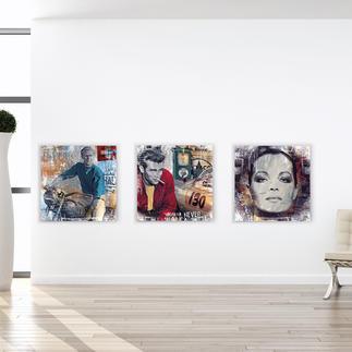 """Devin Miles – American Hero, Pit Stop oder Romy Devin Miles: Der Shootingstar der deutschen """"Modern Pop-Art"""". Unikatserien aus Malerei, Siebdruck und Airbrush auf gebürstetem Aluminium. 100 % Handarbeit. Maße: 70 x 70 cm"""