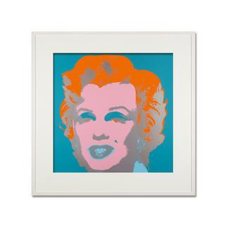 Andy Warhol – Marilyn hellblau Sunday B. Morning Siebdruck auf 1,52 mm starkem Museumskarton. Maße: gerahmt 112 x 112 cm