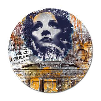 """Devin Miles – Timeless – Marlene Dietrich Devin Miles: Der Shootingstar der deutschen """"Modern Pop-Art"""". Unikatserie """"Timeless – Marlene Dietrich"""" aus Malerei, Siebdruck und Airbrush auf gebürstetem Aluminium. 100 % Handarbeit. Maße: Ø 120 cm"""
