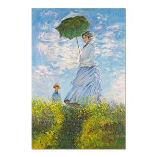 """Zhao Xiaojie malt Monet: """"Frau mit Sonnenschirm"""" Zhao Xiaojie """"Frau mit Sonnenschirm"""": Die perfekte Kunstkopie – 100 % von Hand in Öl gemalt."""