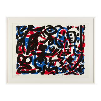 """A. R. Penck – Weiterarbeit A. R. Penck in den wichtigsten Museen der Welt – und jetzt als limitierter Siebdruck bei Ihnen zu Hause. Die letzten 15 Exemplare der Edition """"Weiterarbeit"""" exklusiv bei Pro-Idee. Maße: 112 x 80,5 cm"""