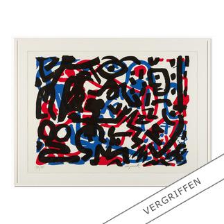 """A. R. Penck – Weiterarbeit A. R. Penck in den wichtigsten Museen der Welt – und jetzt als limitierter Siebdruck bei Ihnen zu Hause. Die letzten 15 Exemplare der Edition """"Weiterarbeit"""" exklusiv bei Pro-Idee."""