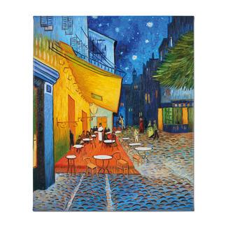 """Zhao Xiaoyong malt Vincent van Gogh – Caféterrasse am Abend Vincent van Goghs: """"Caféterrasse am Abend"""". Die perfekte Kunstkopie – 100 % von Hand in Öl gemalt."""