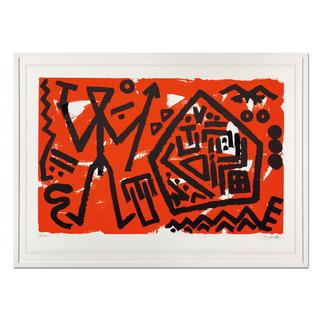 """A. R. Penck – Pentagon rot A. R. Penck in den wichtigsten Museen der Welt – und jetzt als limitierter Siebdruck bei Ihnen zu Hause. Letzte Exemplare seiner viele Jahre unter Verschluss gehaltenen Edition """"Pentagon rot""""."""