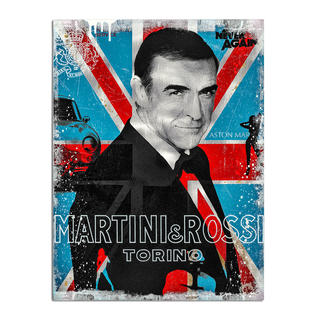 """Devin Miles – Martini & Rossi II Der Shootingstar der deutschen """"Modern Pop-Art"""". Unikatserie aus Malerei, Siebdruck und Airbrush auf gebürstetem Aluminium. 100 % Handarbeit. Maße: 60 x 80 cm"""